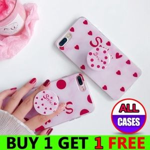 *NEW iPhone X/XS/7/8/Plus Pink Case W/Holder